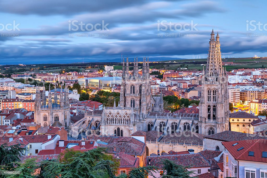 View on Burgos Cathedral from the hill stock photo