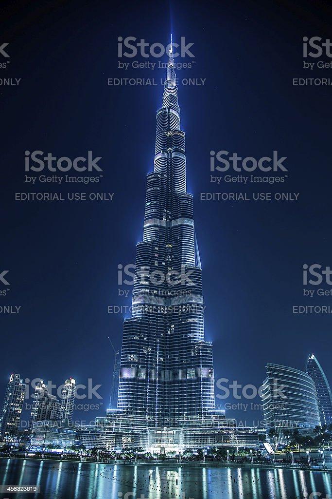 View on Burj Khalifa, Dubai, UAE, at night royalty-free stock photo