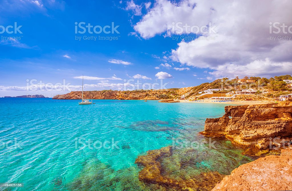 View on Cala Tarida (Ibiza) stock photo