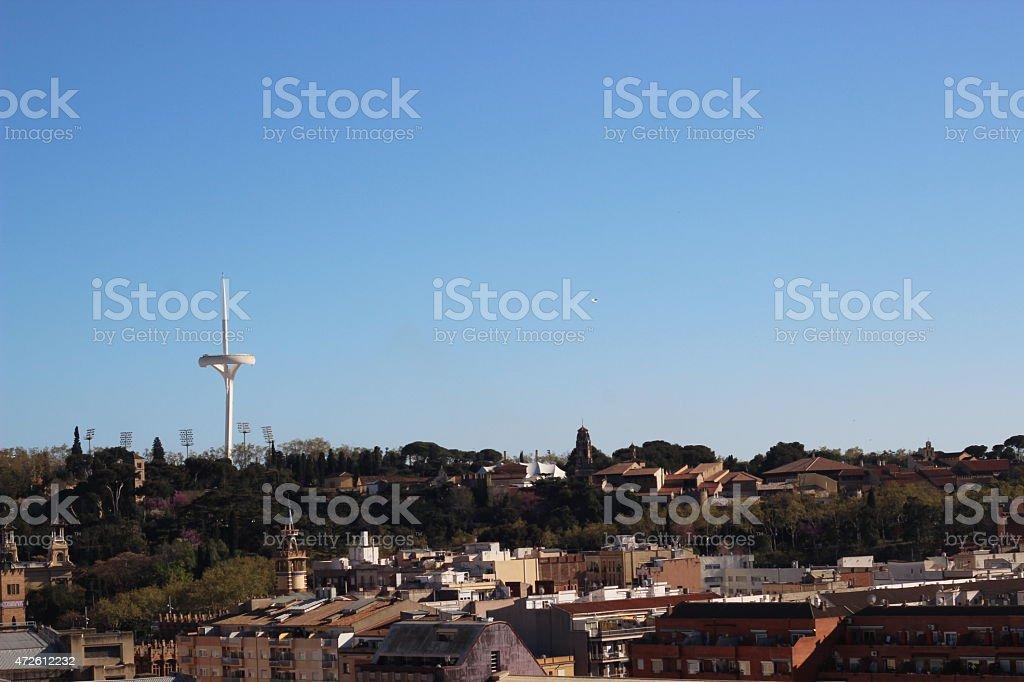view on Calatrava Tower Barcelona stock photo