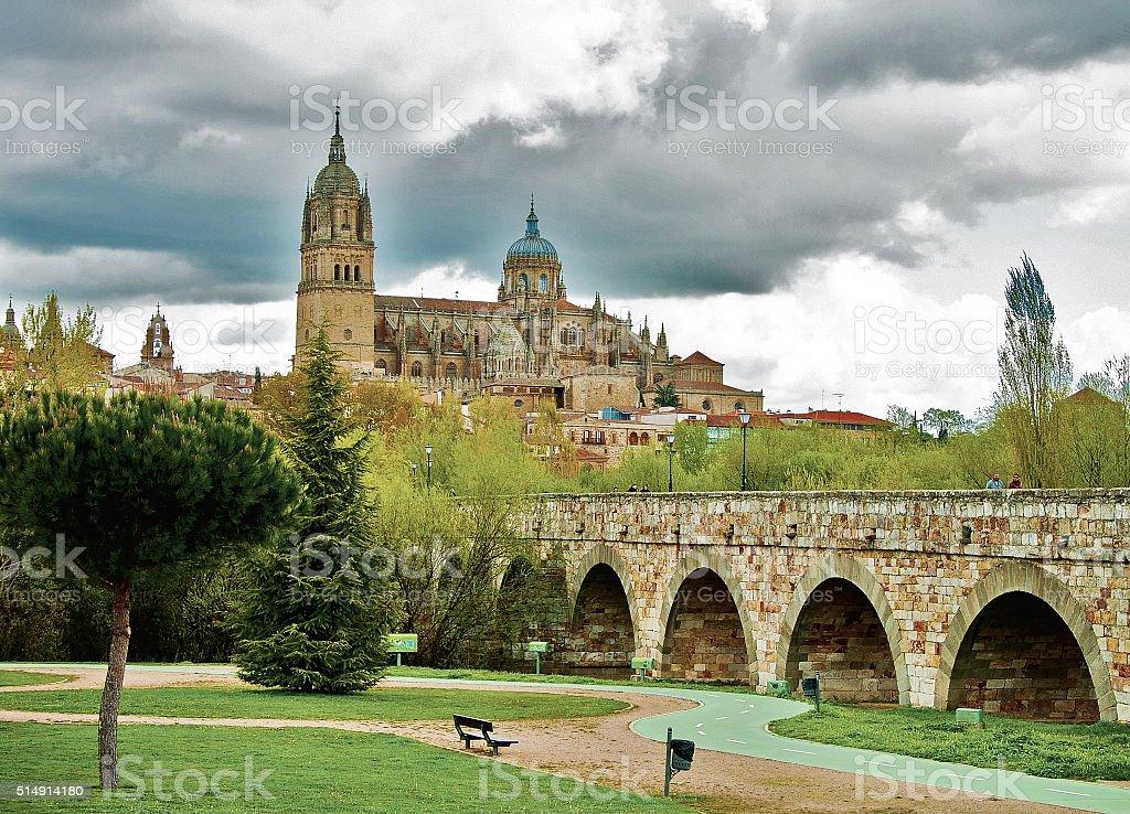 View on Cathedral at Salamanca stock photo