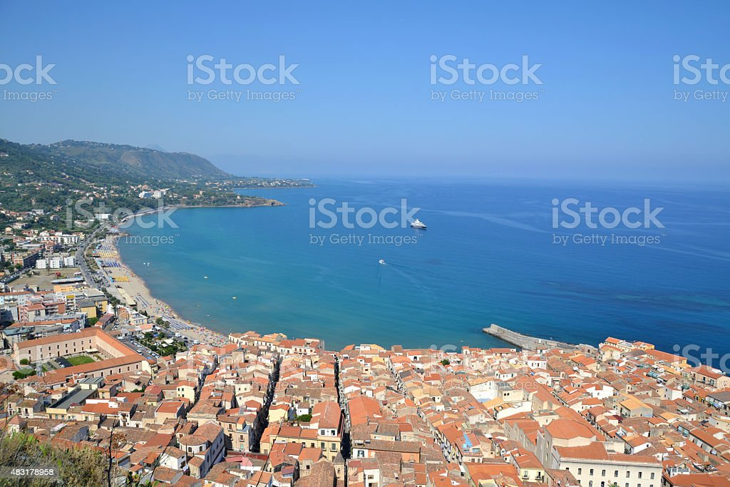 View on Cefalu on Sicily, Italy stock photo