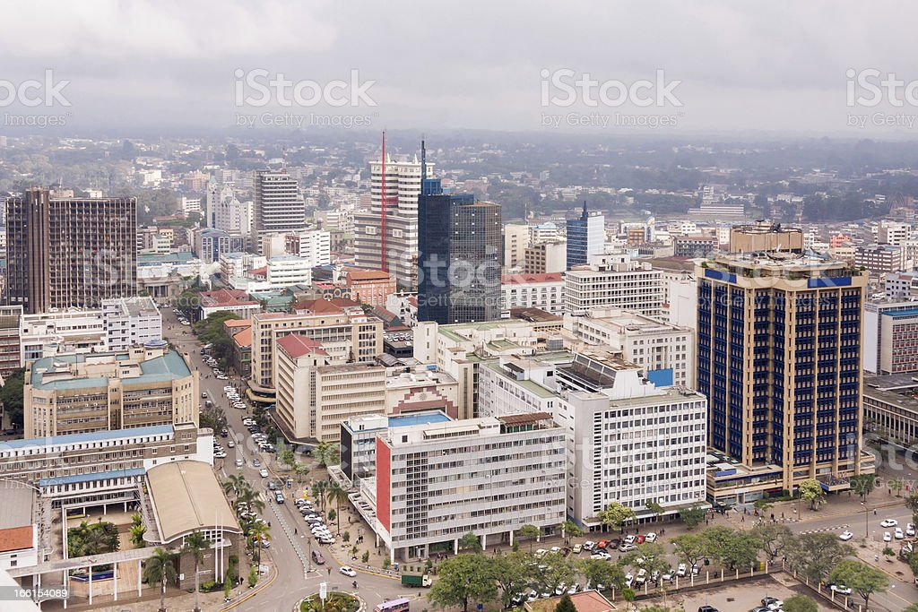 View on central business district of Nairobi stock photo