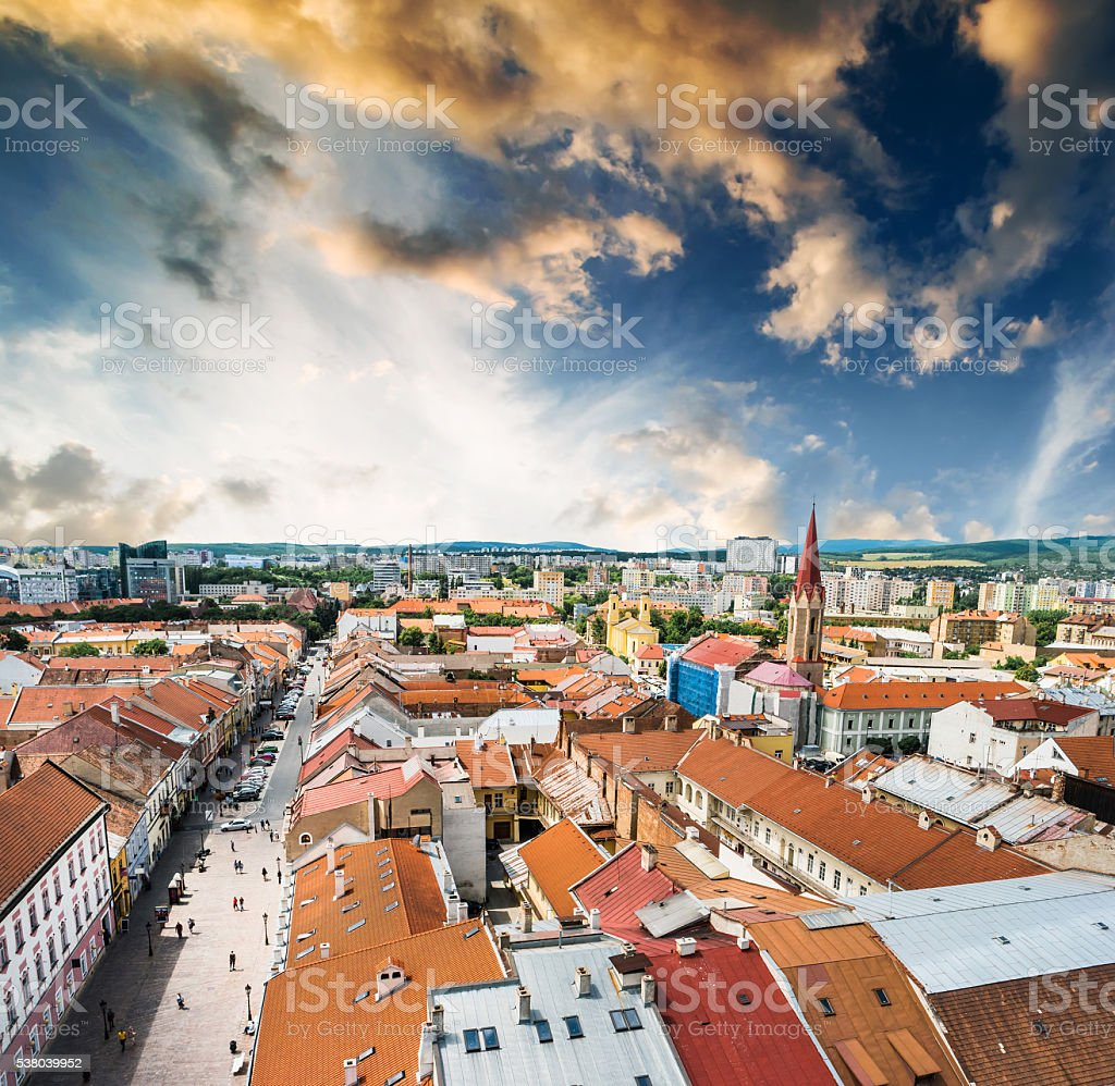 view on central part of Kosice stock photo