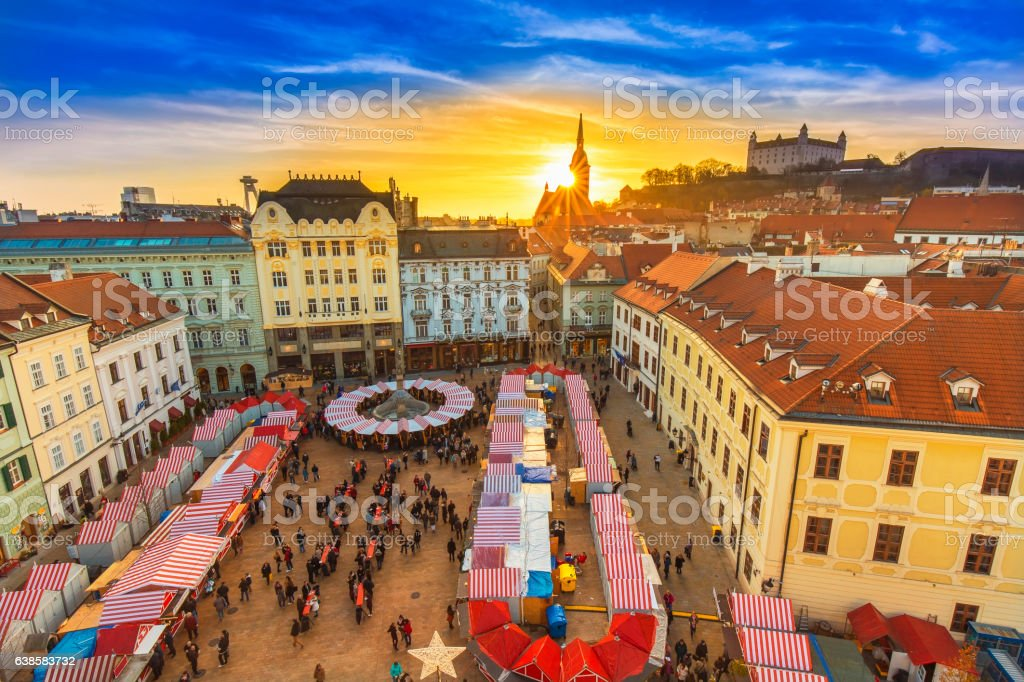 View on Christmas market on the Main square in Bratislava stock photo