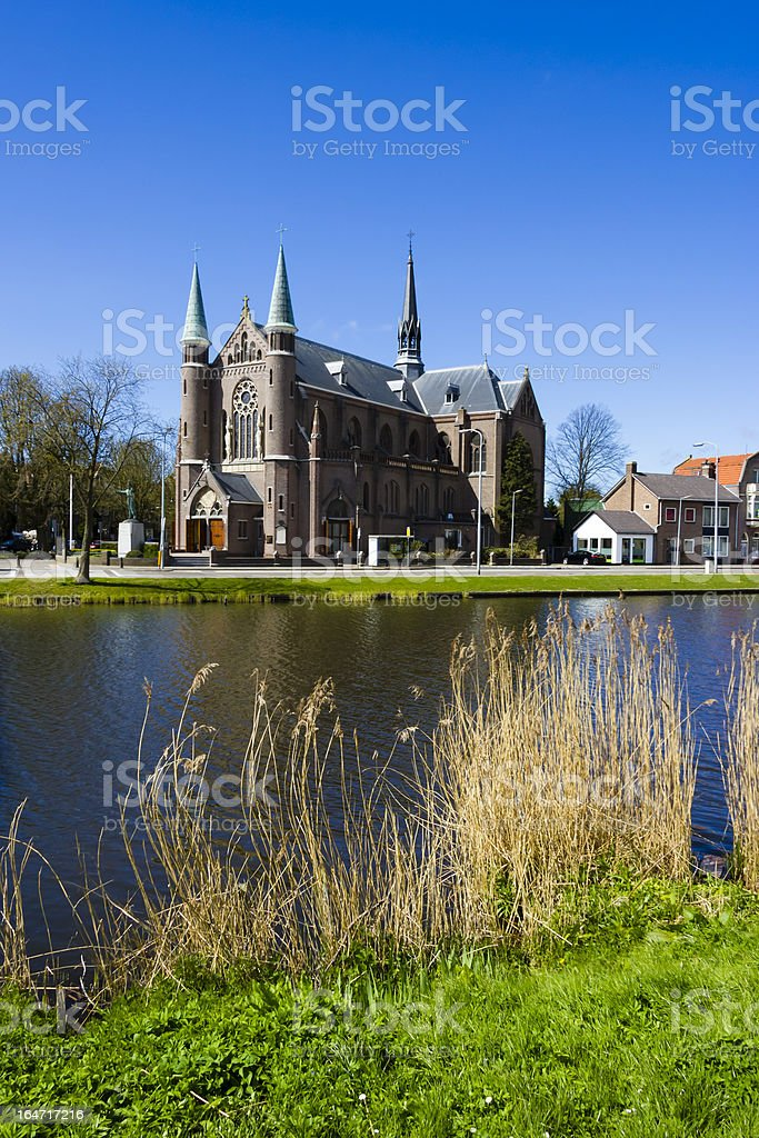 View on church, Alkmaar town, Holland, the Netherlands royalty-free stock photo