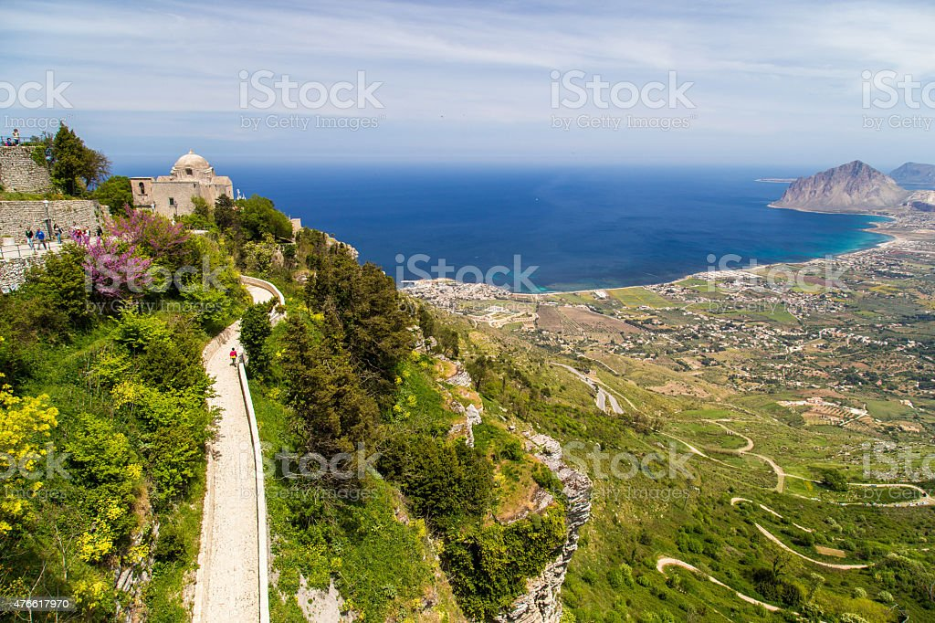 View on church of Giovanni from Erice stock photo