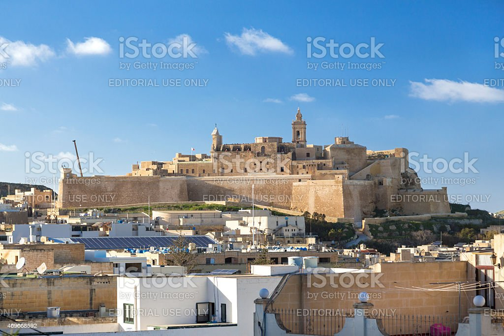 View on Cittadella, fortified city in Victoria. stock photo