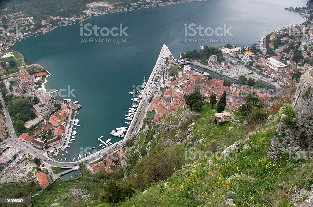 View on City Kotor from Fortress Montenegro royalty-free stock photo