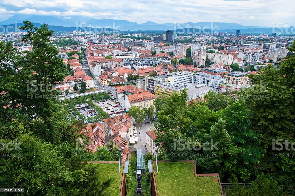 View on City of Ljubljana from the castle, Slovenia stock photo