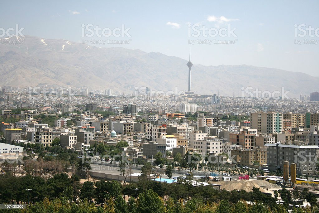 View on city of Tehran Iran stock photo