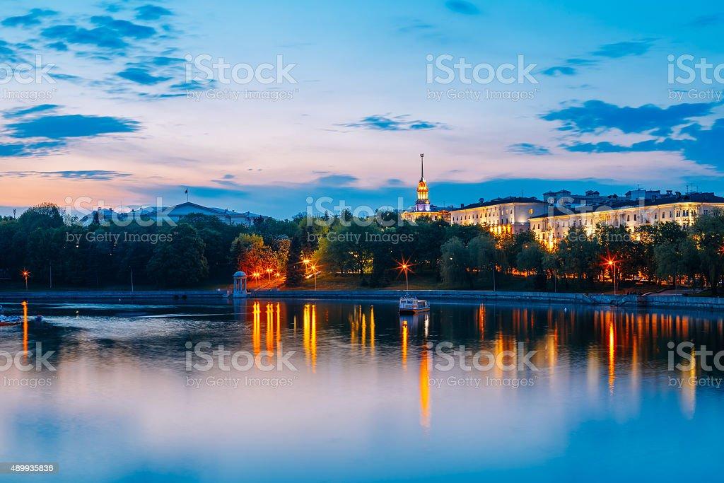 View on city's waterfront in Minsk, Belarus stock photo
