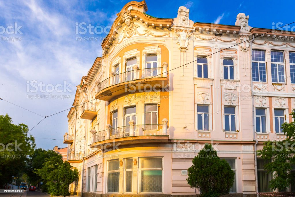 View on classic style building fascade in Evpatoria town stock photo