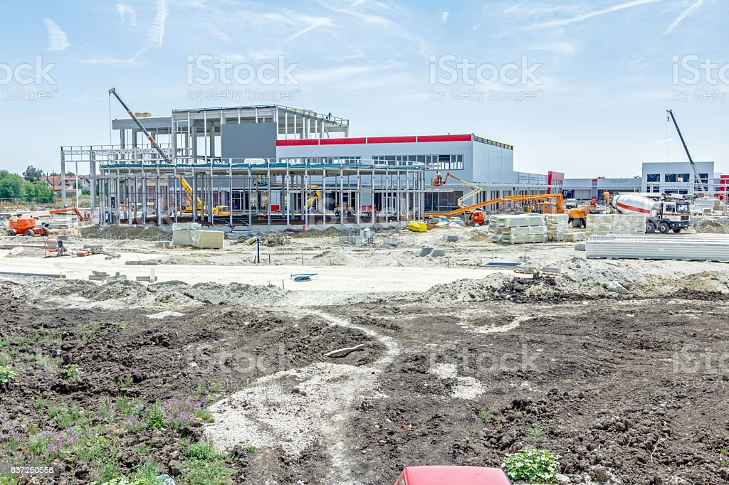 View on construction site, unfinished modern edifice stock photo
