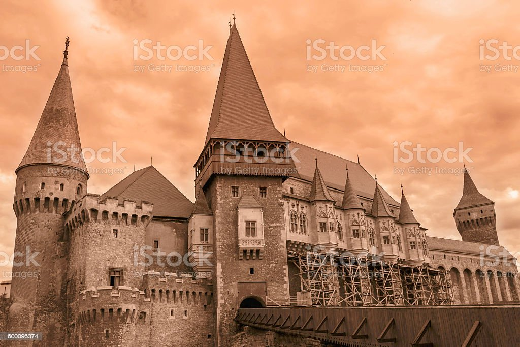 View On Corvin Castles, Romania stock photo