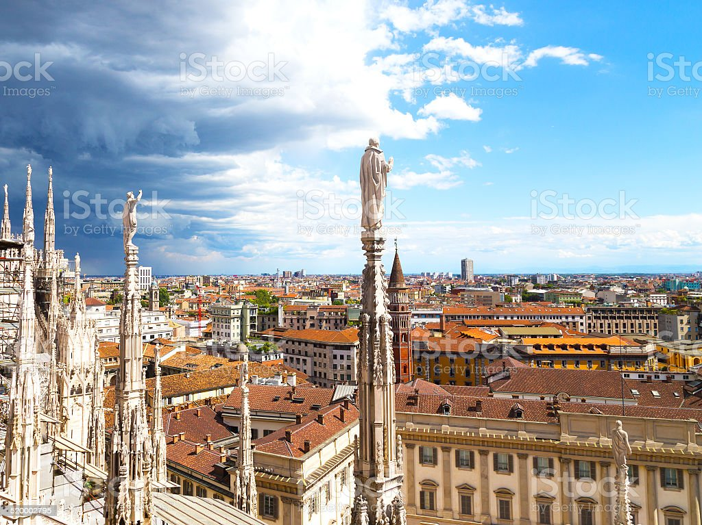 View on downtown from the Dome of Milan cathedral roof. stock photo