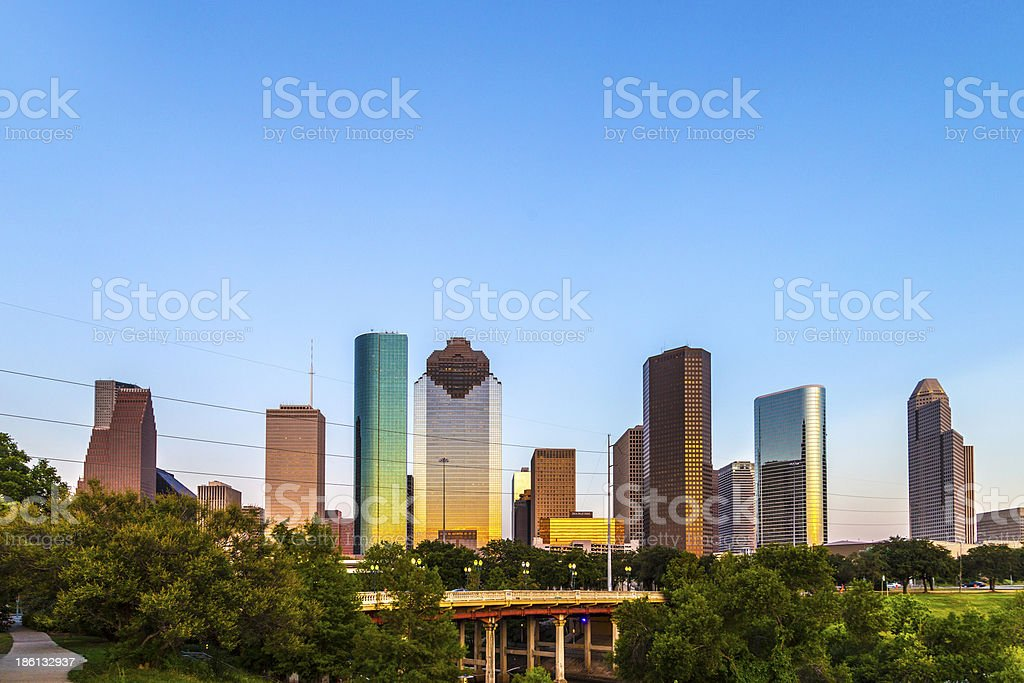 View on downtown Houston in late afternoon stock photo