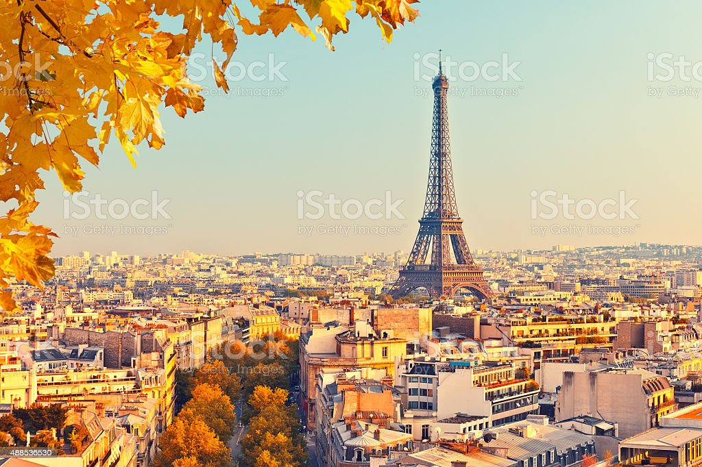 View on Eiffel tower at sunset stock photo