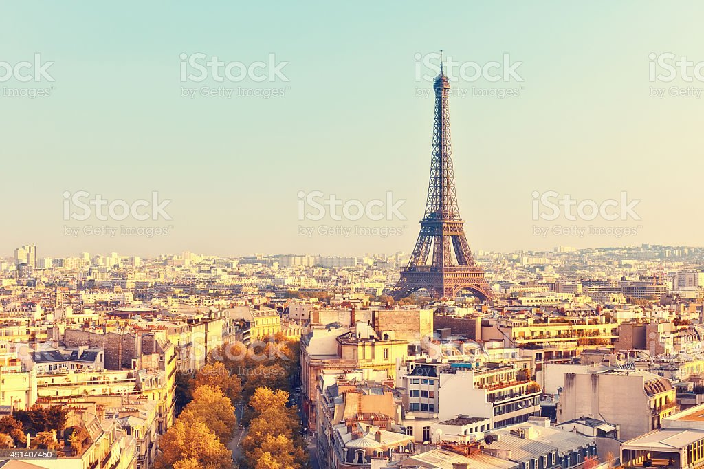 View on Eiffel tower at sunset royalty-free stock photo