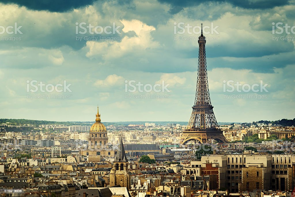 View on Eiffel Tower, Paris, France stock photo