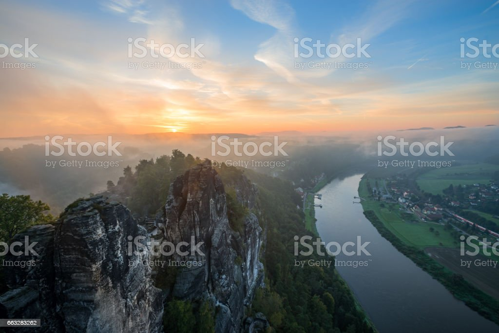 View on Elbe from Bastai, Rathen stock photo