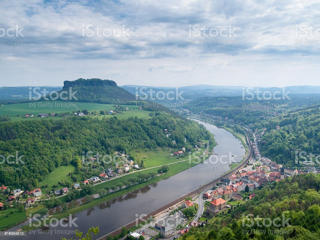 View on Elbe River from Koenigstein Fortress stock photo
