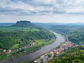 View on Elbe River from Koenigstein Fortress