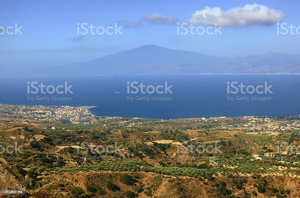 View on Etna from Aspromonte stock photo