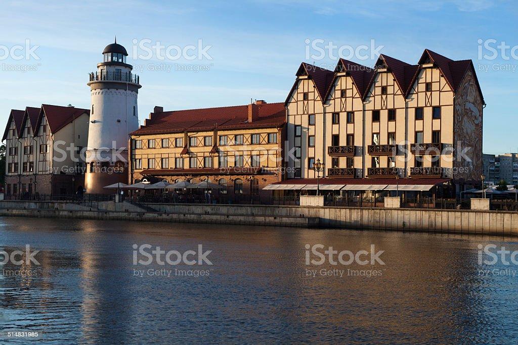 View on Fishing Village, Kaliningrad stock photo