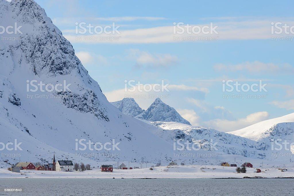 View on Flakstad village in winter in the Lofoten, Norway stock photo