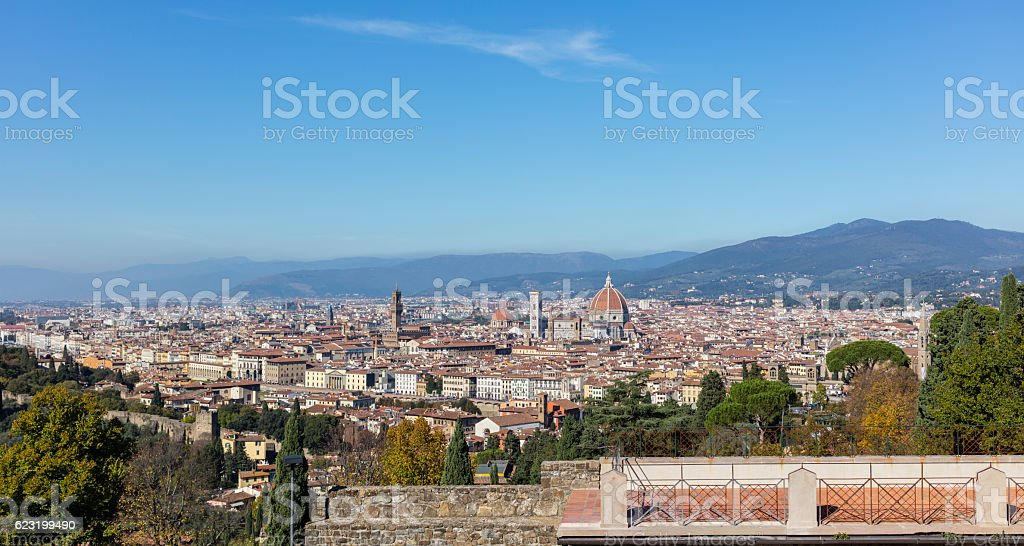 View on Florence from Basilica of San Miniato al Monte stock photo