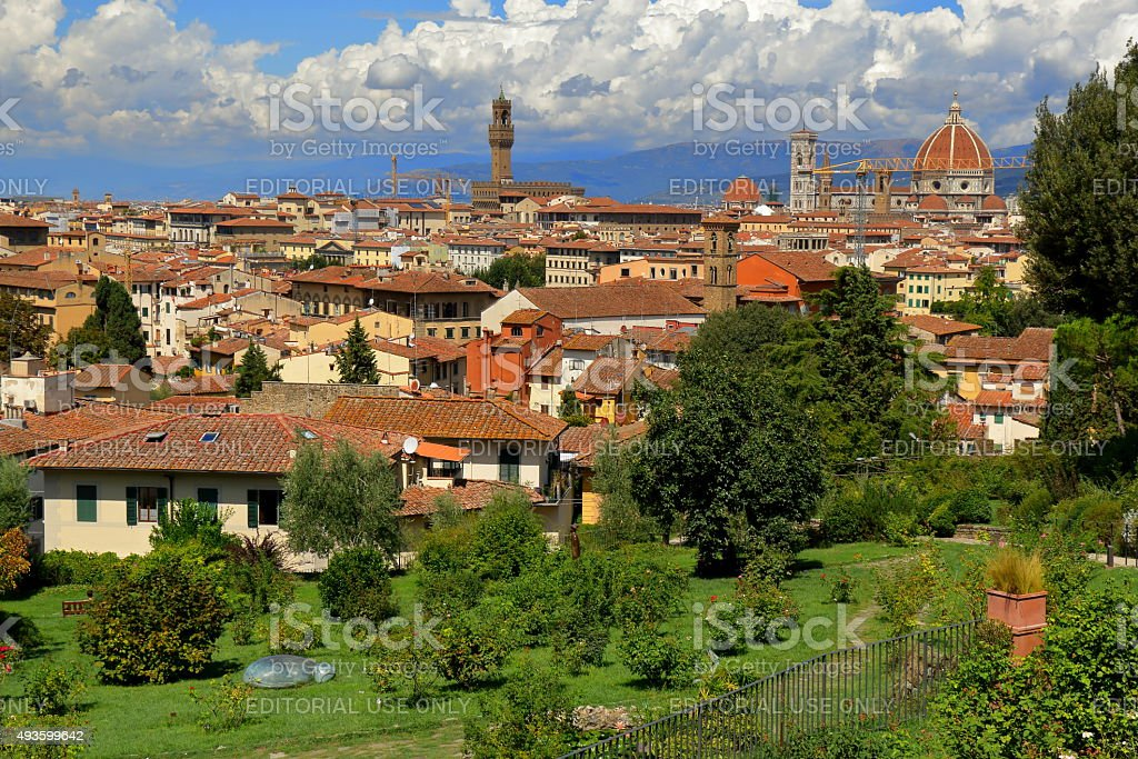 View on Florence from the Giardino delle Rose, Italy stock photo