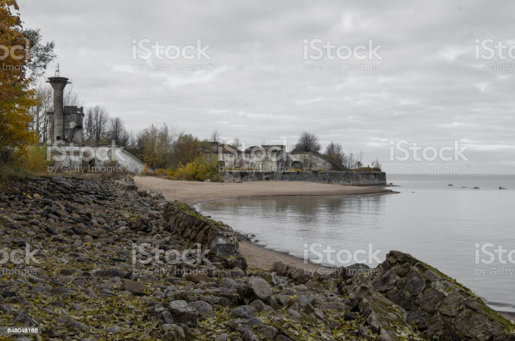 View on  fort 'Reef', fortifications of Kronstadt, and gulf of Finland. Russia stock photo