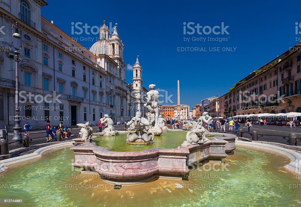 View on fountain on  famous square Piazza Navona in Rome stock photo