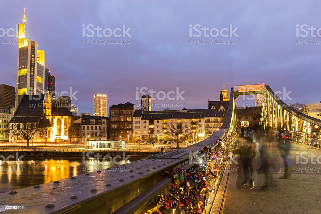 View on Frankfurt am Main in Germany from Eiserner Steg stock photo