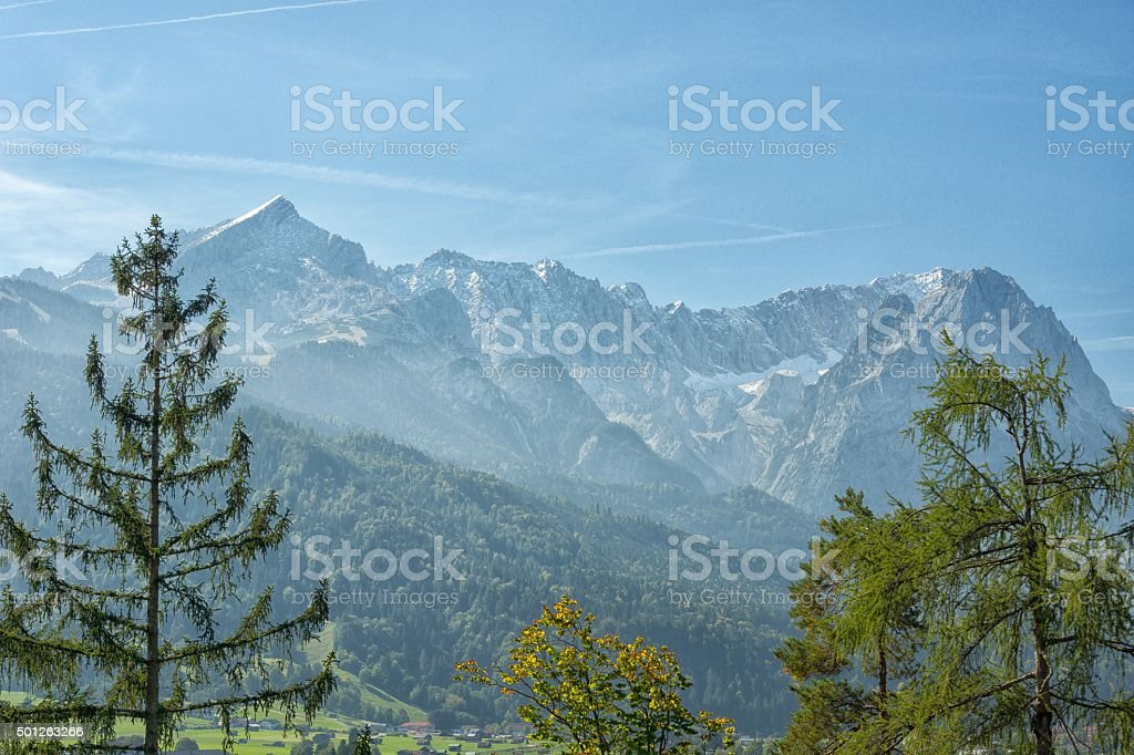 View on Garmisch with Alps Panorama stock photo