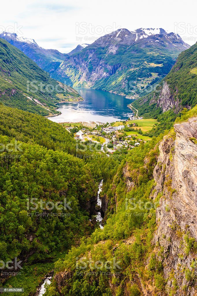 View on Geirangerfjord in Norway stock photo