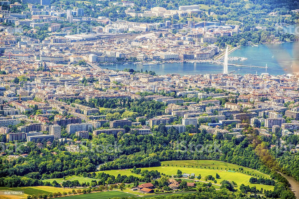 View on Geneva from Mont Saleve, France stock photo
