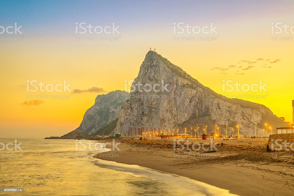 View on Gibraltar rock on sunset stock photo