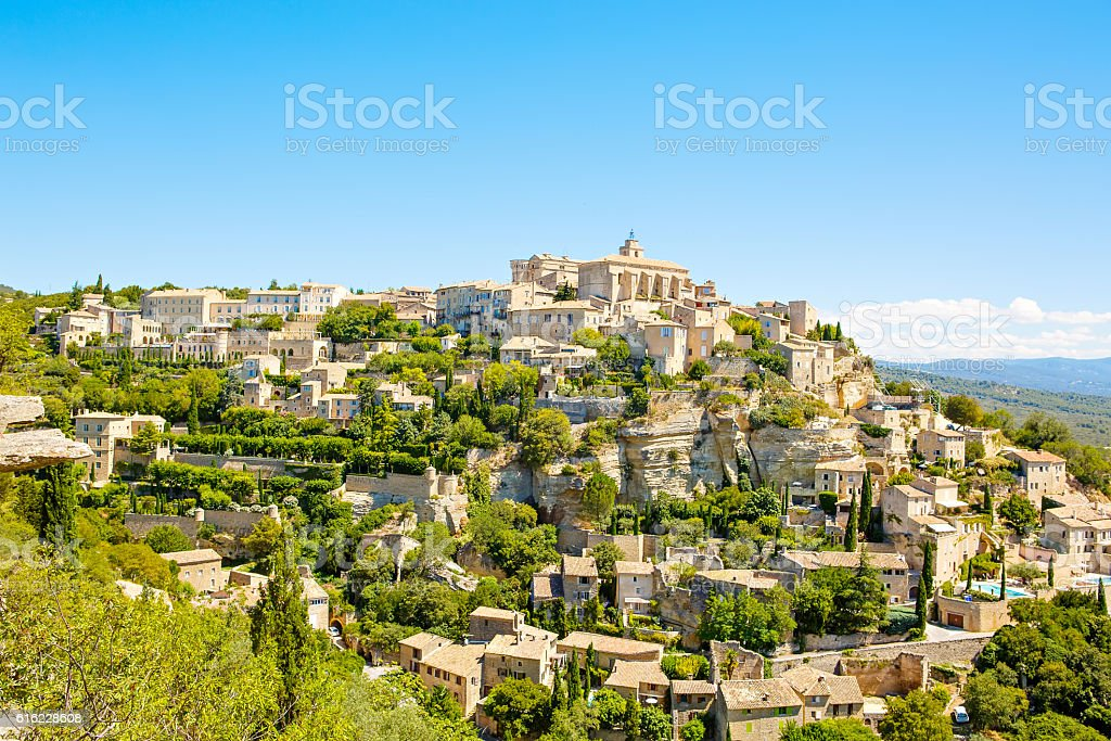 View on Gordes, a small typical town in Provence, France stock photo