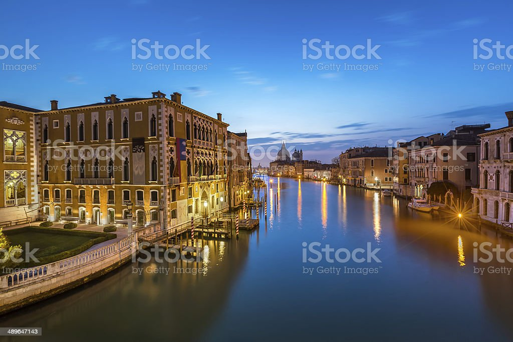 View on Grand Canal and Santa Maria della Salute Church royalty-free stock photo
