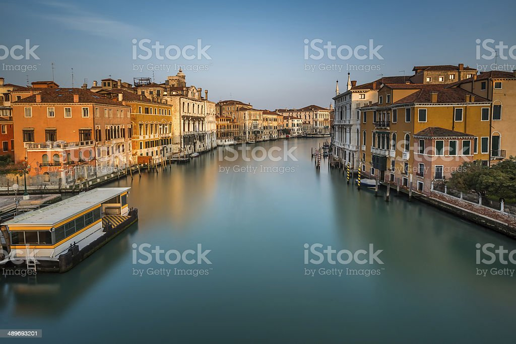 View on Grand Canal and Vaparetto Station from Accademia Bridge royalty-free stock photo