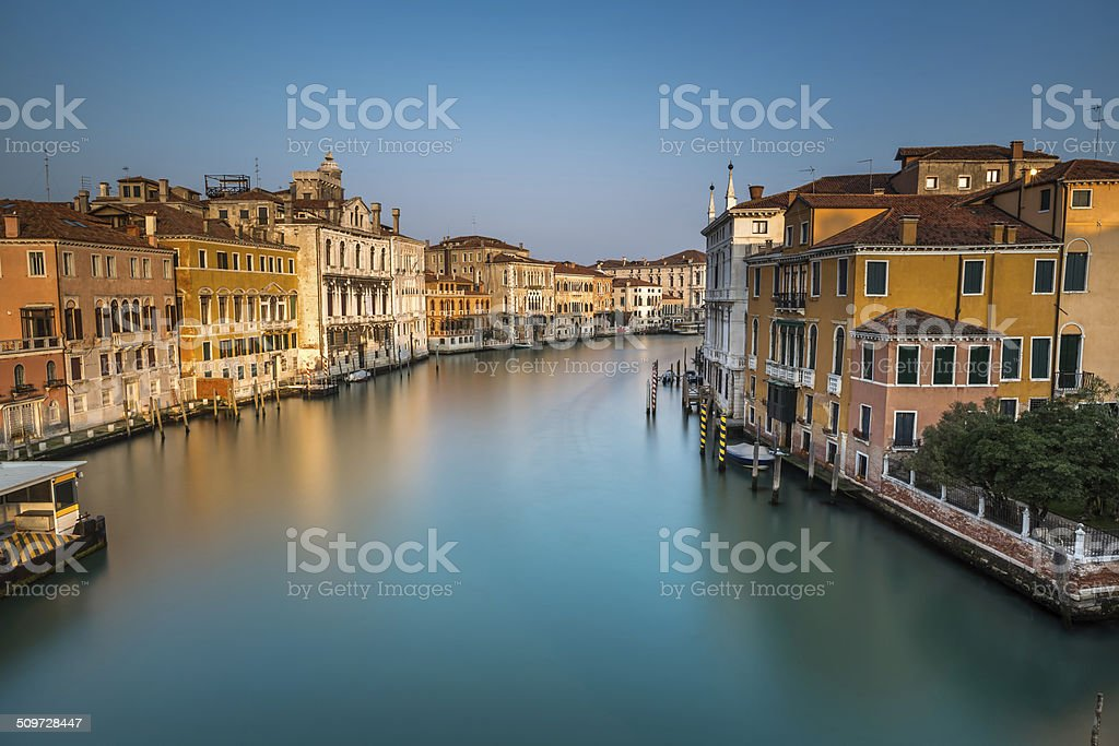 View on Grand Canal and Vaparetto Station from Accademia Bridge stock photo