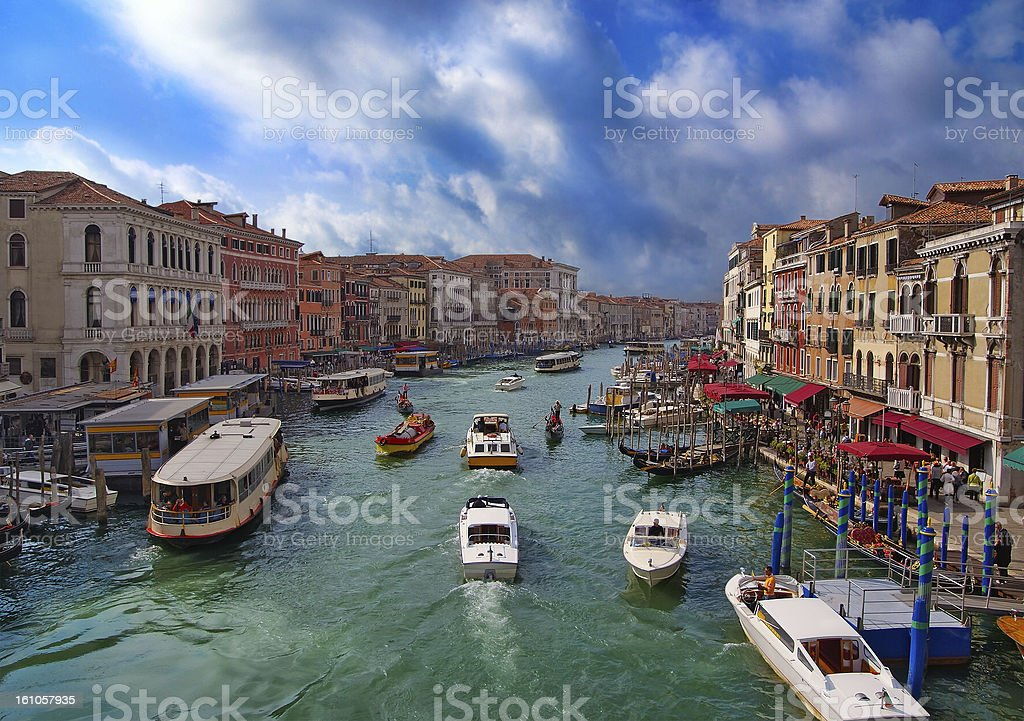 View on Grand Canal from the Rialto bridge. Venice royalty-free stock photo