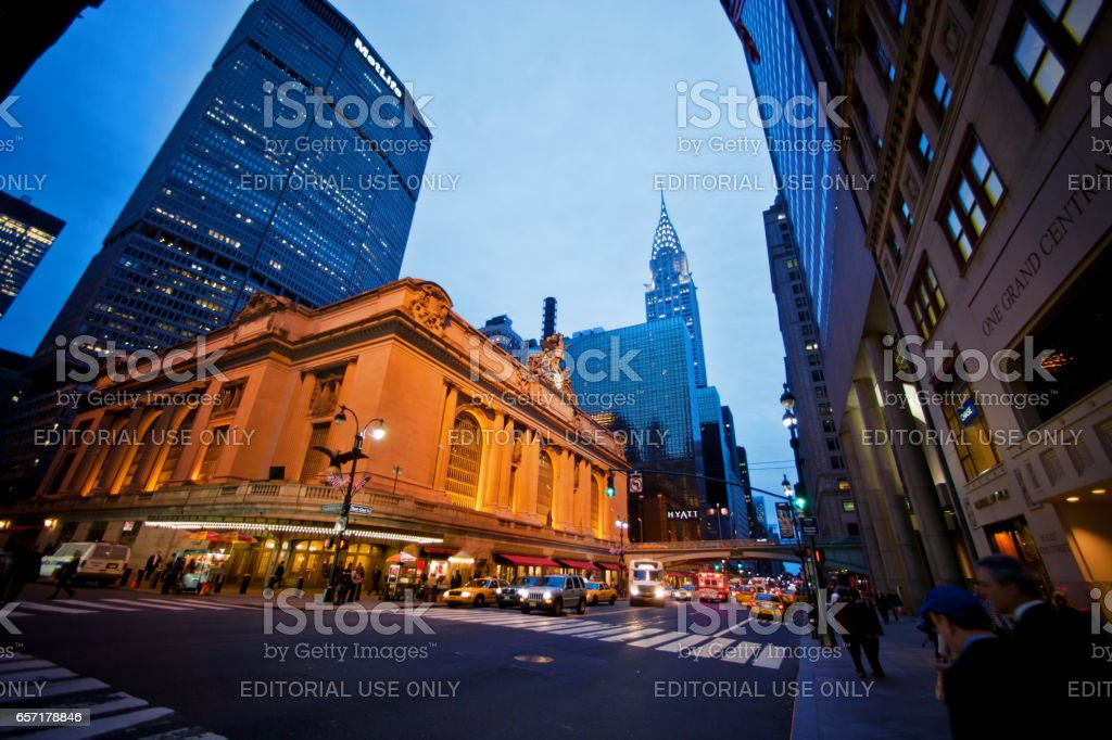 New York, USA - May 1, 2012: View on Grand Central Station from 42nd Street, New York, Grand Hyatt New York and Chrysler Building on background stock photo