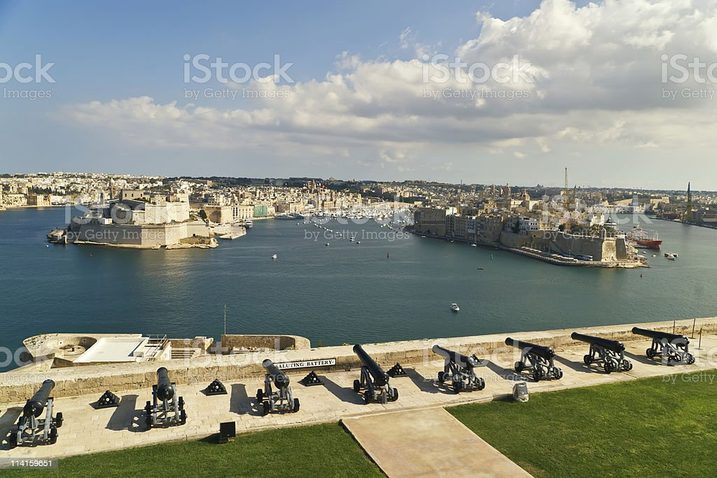 View on Grand harbour from Saluting Battery. Valetta. Malta royalty-free stock photo