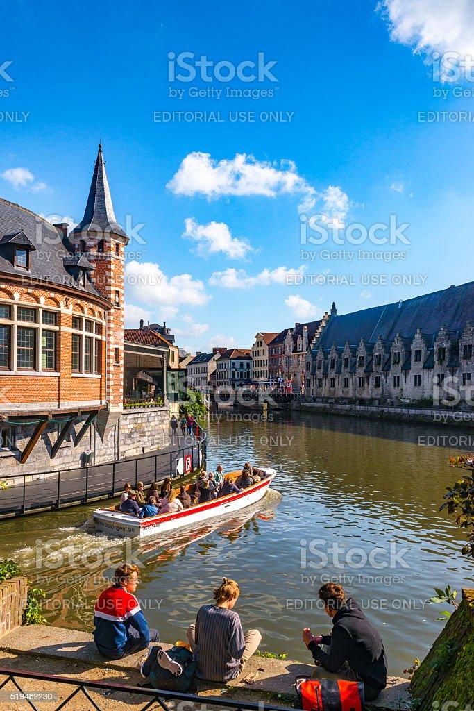 View on Graslei, Ghent stock photo