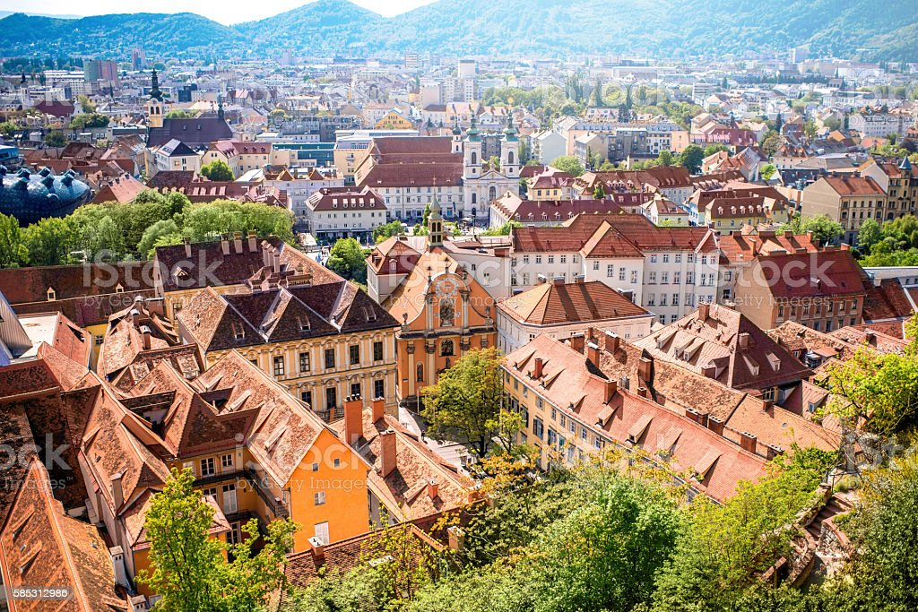 View on Graz city stock photo