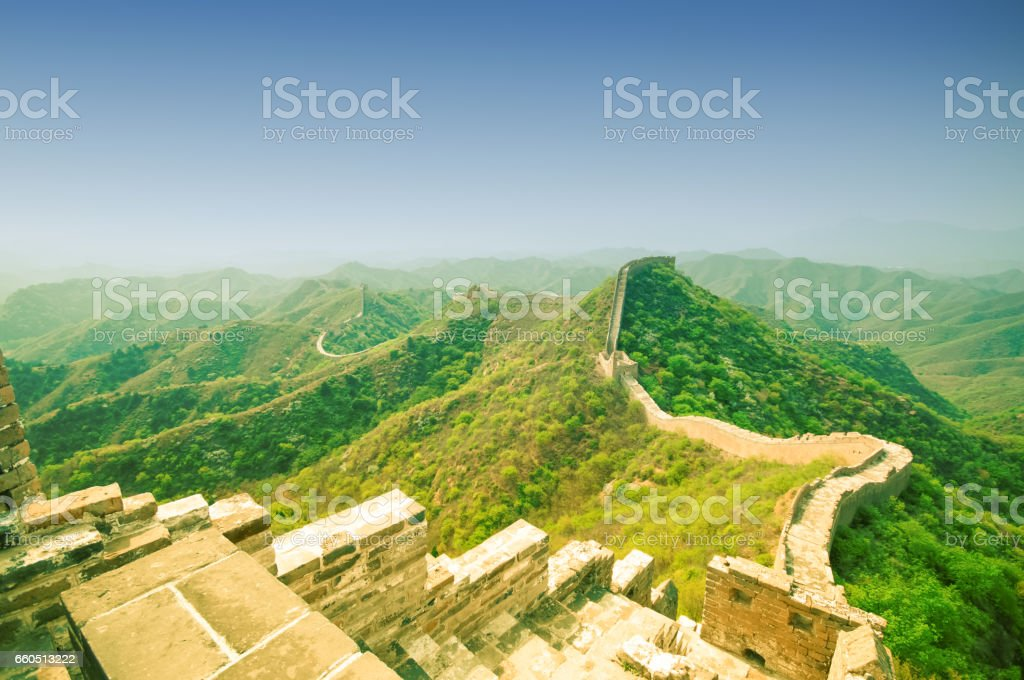 View on Great wall by Jinshaling in China stock photo
