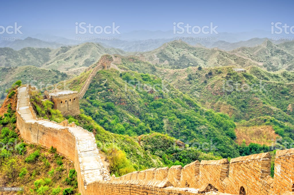 View on great wall by jinshanling in China stock photo